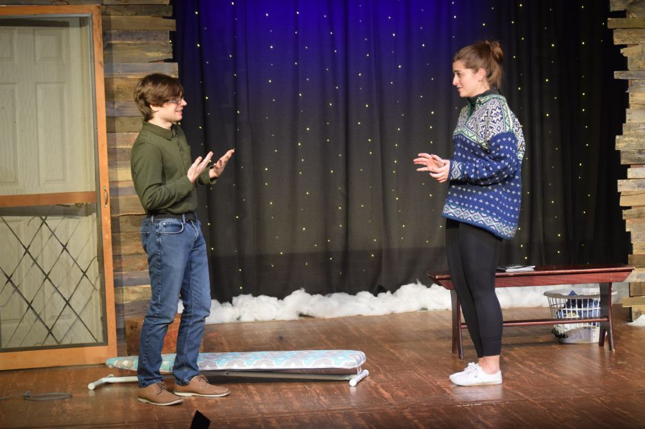 "Corey Welden and Katie Kirtland rehearse for the Castle Craig Players latest production, ""Almost, Maine,"" on Thursday, Nov. 7, 2019. The play opens Nov. 8 and runs through Nov. 17 in Meriden. 