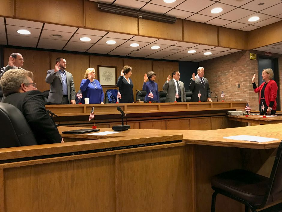 Plainville town councilors take the oath of office, Monday, Nov. 13. |Ashley Kus, The Citizen