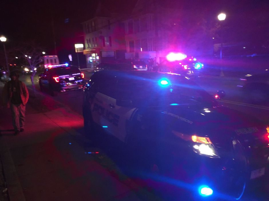 Police respond to pedestrian who was struck by a vehicle on Lewis Ave in Meriden.