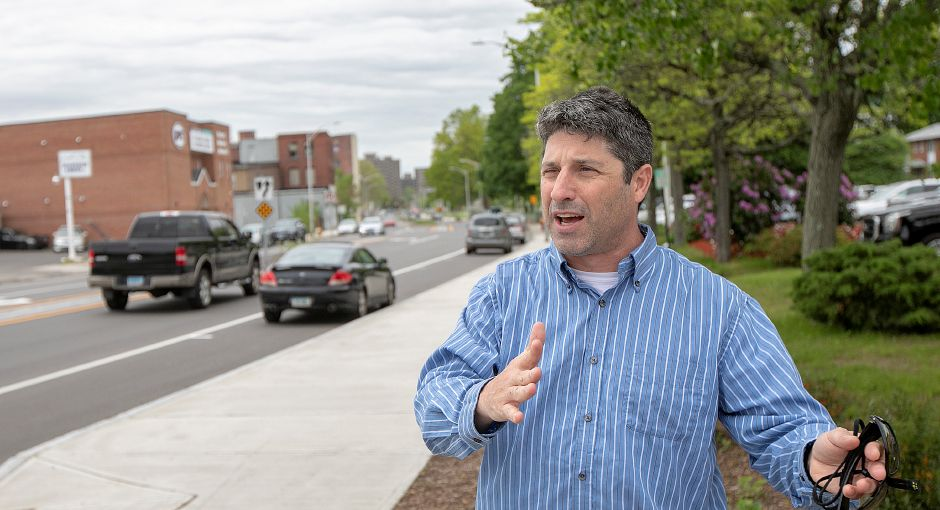 Howard Weissberg, director of Public Works, talks about the Pratt Street Gateway project in downtown Meriden, Thurs., May 23, 2019. Dave Zajac, Record-Journal