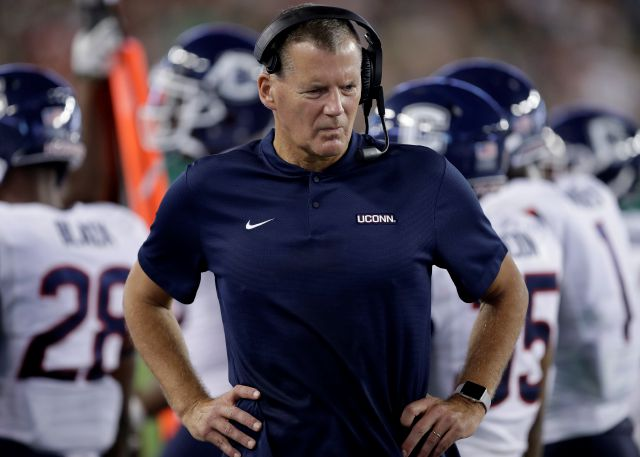 Connecticut head coach Randy Edsall  doesn't talk about conference championships or bowl games, he just wants to see his football team improve.Associated Press
