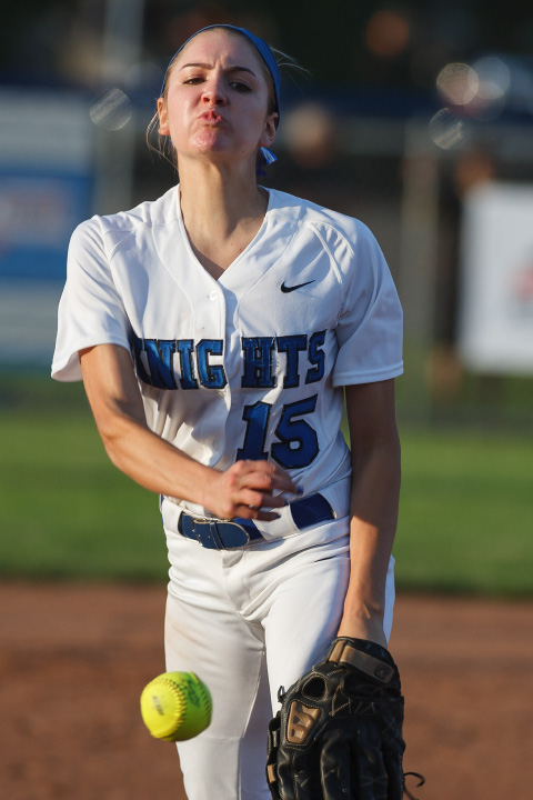 Southington pitcher Kendra Friedt (15) warms up before the third inning.
