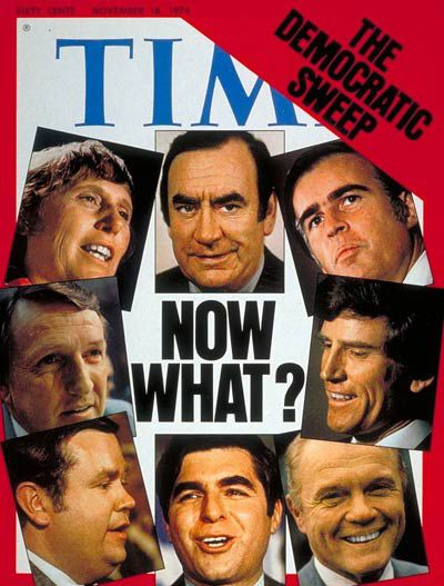 Gov. Ella T. Grasso appeared on the cover of the Nov. 18, 1974 edition of Time magazine along with Michael Dukakis, Jerry Brown, Gary Hart and other successful Democrats during the post-Watergate electoral sweep.