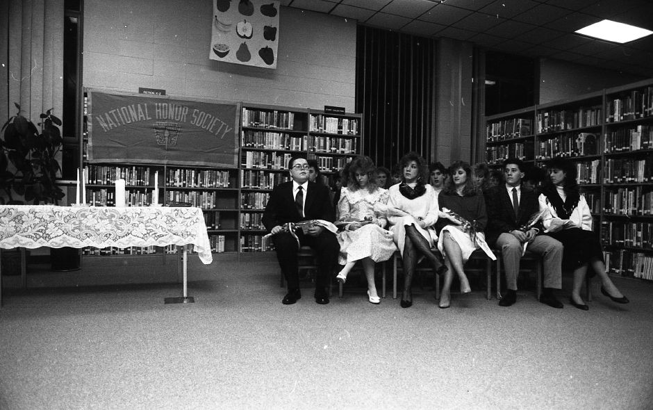 RJ file photo - National Honor Society induction ceremony for 18 Sheehan High School students March 17, 1989.
