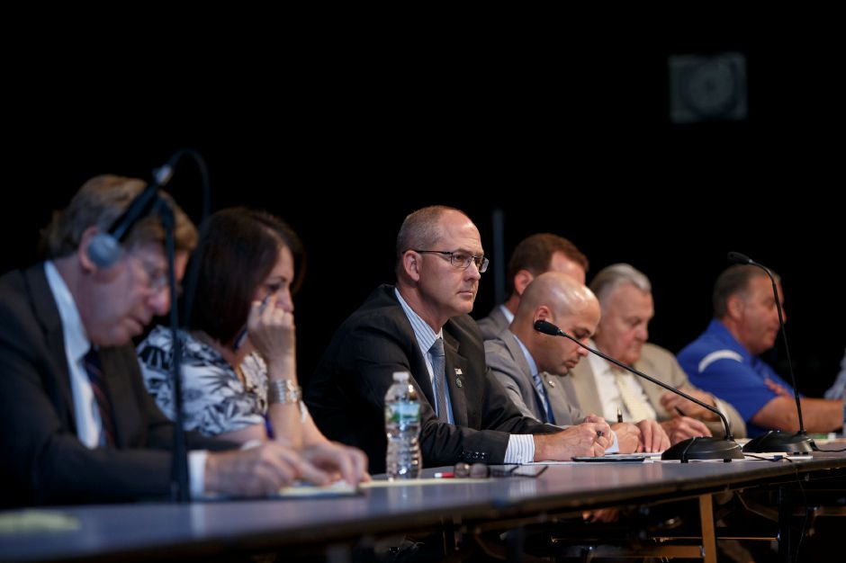 Members of the Meriden Finance Committee listen to residents input on budget Thursday during a public hearing with the Meriden Finance Committee to speak about the tax increase at Lincoln Middle School in Meriden August 9, 2018 | Justin Weekes / Special to the Record-Journal
