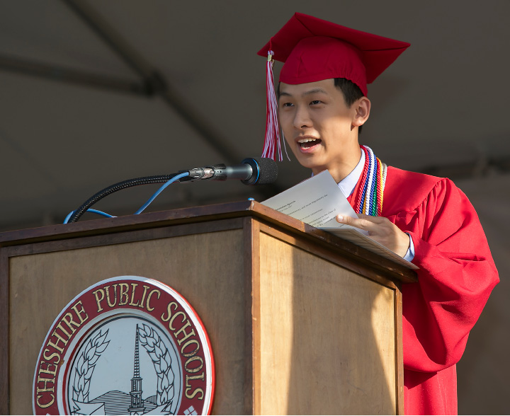 Class Salutatorian Roger Chen speaks during graduation ceremonies at Cheshire High School, Wednesday, June 14, 2017.  | Dave Zajac, Record-Journal