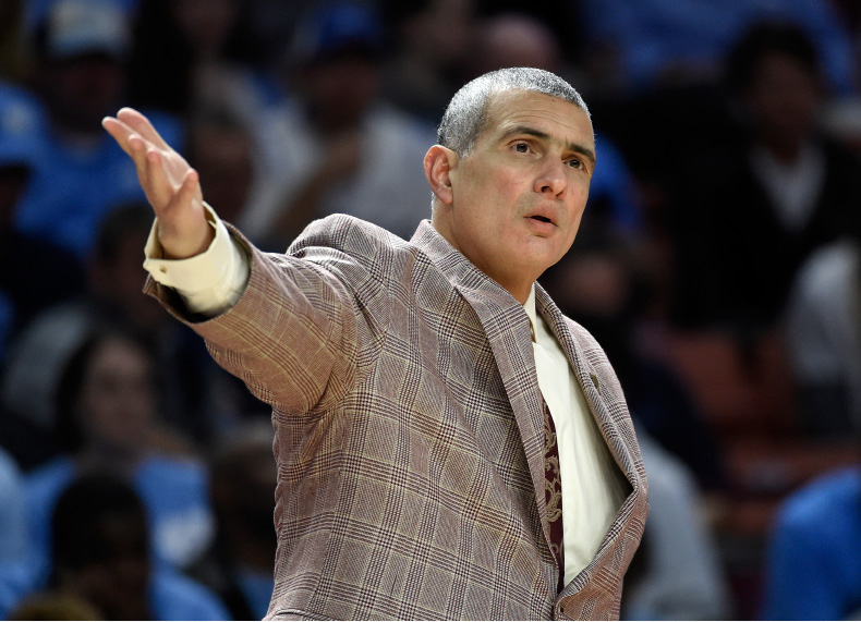 South Carolina head coach Frank Martin argues a call during the first half in a second-round game against Duke in the NCAA men