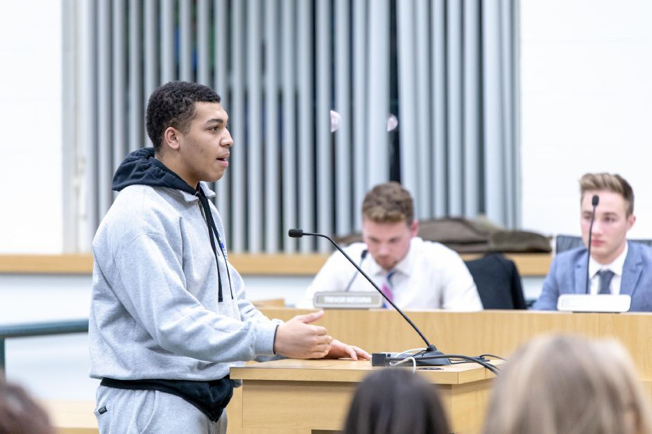 Southington High School Senior Tim Robinson, 17, speaks about feeling discriminated against in school. Several students and parents shared similar experiences at a Board of Education meeting on Jan 10, 2019. | Devin Leith-Yessian/Record-Journal