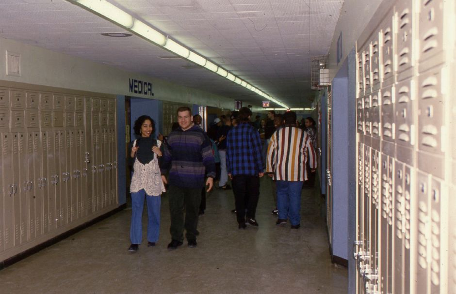 RJ file photo - Students at Platt High School in Meriden in hallways between classes Jan. 20, 1994.