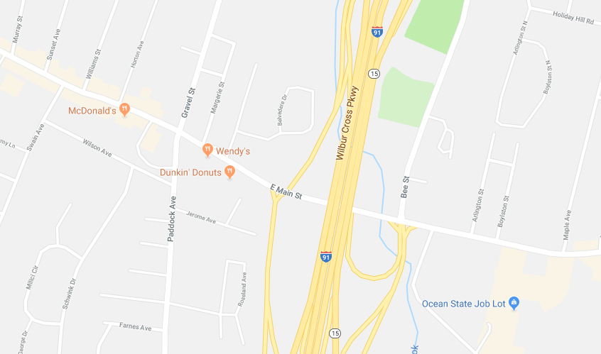 Emergency crews responded to a report of a three vehicle collision on Route 15 northbound by the East Main Street overpass. | Image courtesy of Google