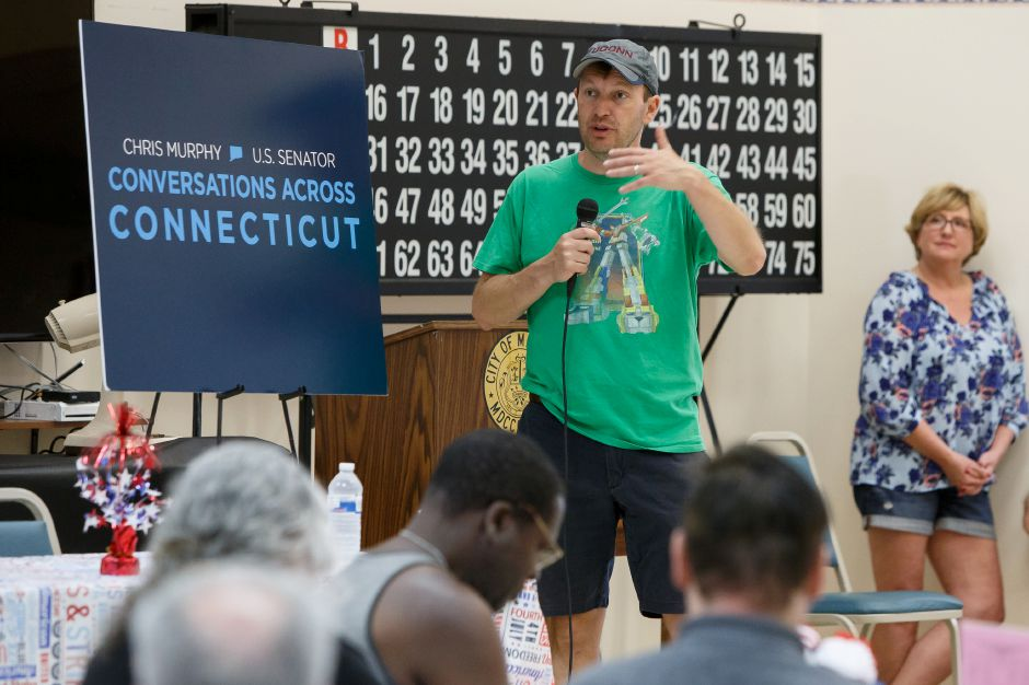 "Senator Chris Murphy (D) speaks to residents at the Senior Citizens Center Saturday during the Senators ""WALK ACROSS CONNECTICUT"" for Town Hall meetings in Meriden July 7, 2018 