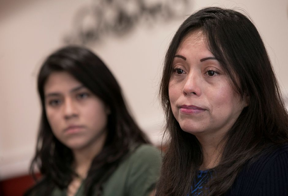 Nelly Cumbicos, of Meriden, right, and sister, Flor Cumbicos, left, Friday, Feb. 2, 2018. Nelly Cumbicos is scheduled to be deported back to her native Ecuador in two weeks, leaving her American citizen husband and teenage son behind. Cumbico has an appeal pending before the Board of Immigration Appeals to reopen her case, said her attorney Erin O'Neal-Baker. Dave Zajac, Record-Journal