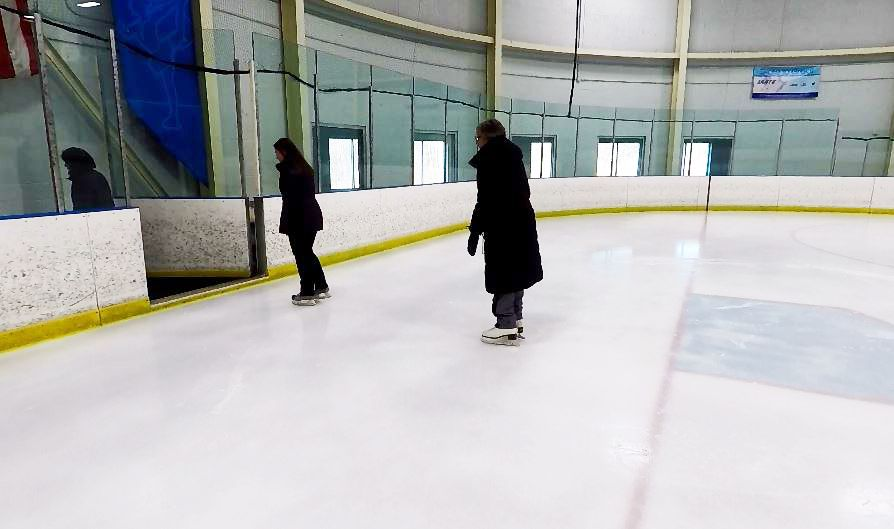 Ann Buccino-Katz, director of the Learn to Skate program, Sydney Hogan, a skating instructor, and Mary Anne Ferro, a skating instructor, exit the ice at Northford Ice Pavilion, 24 Firelite Place, Northford, Thursday, Jan. 3, 2019. | Ashley Kus, Record-Journal