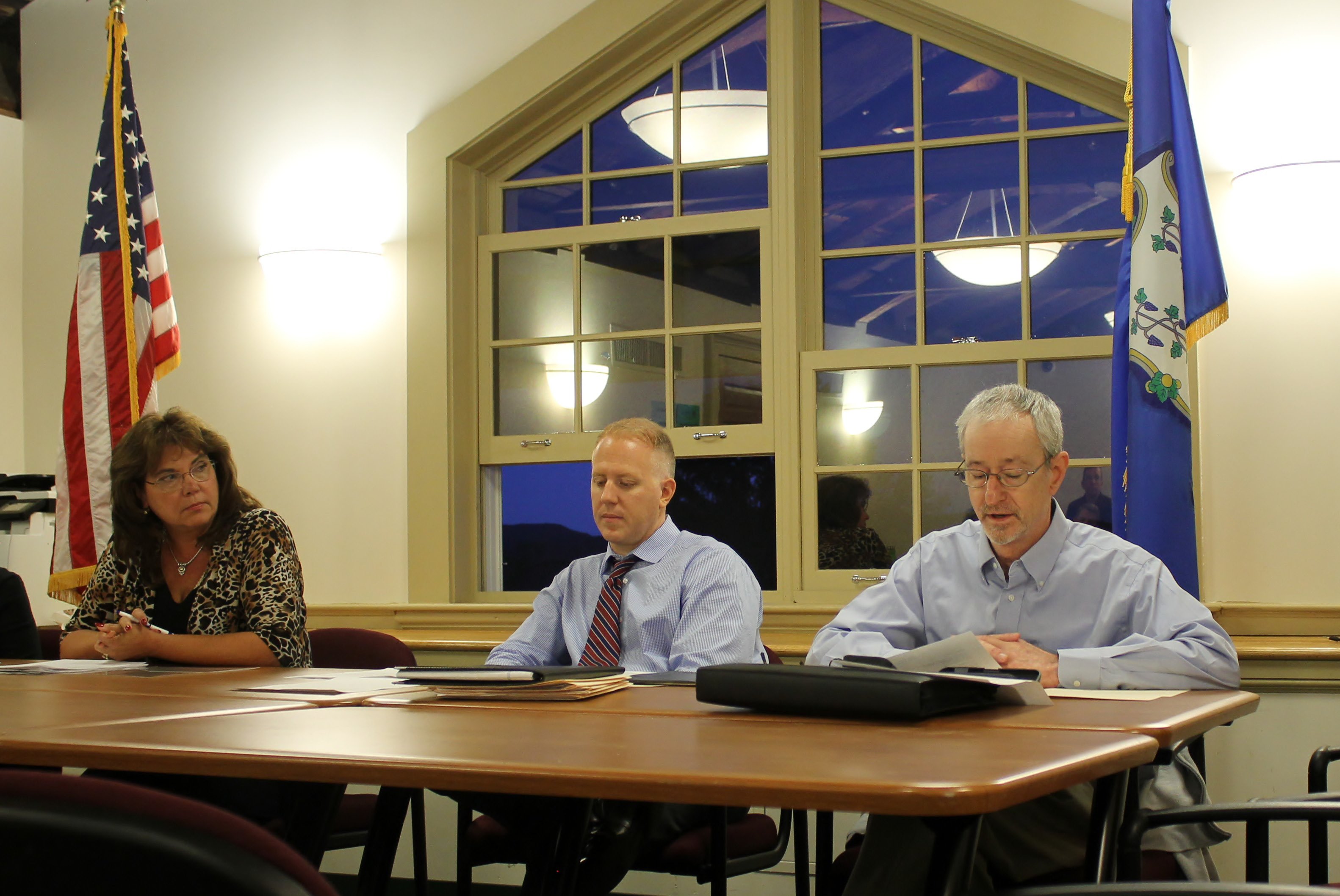 Selectman Steve Levy, right, reads his letter of resignation at Durham's Board of Selectmen's meeting on Monday, Sept. 11. Levy's resignation will be effective Monday, Oct. 2. | Mark Dionne, Town Times