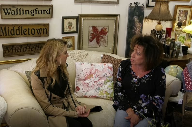 Record-Journal Digital Content Producer Ashley Kus, left, talks with Cindy Ruszczyk, owner of Cindy's Unique Shop, 32 N. Colony St., Wallingford.