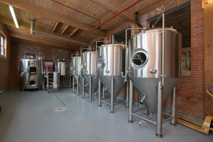 Four 450 gallon fermentation tanks and a brewing station were recently installed at Witchdoctor Brewing Company in Southington. The company expects to be brewing beer by the end of January.  | Justin Weekes / For the Record-Journal