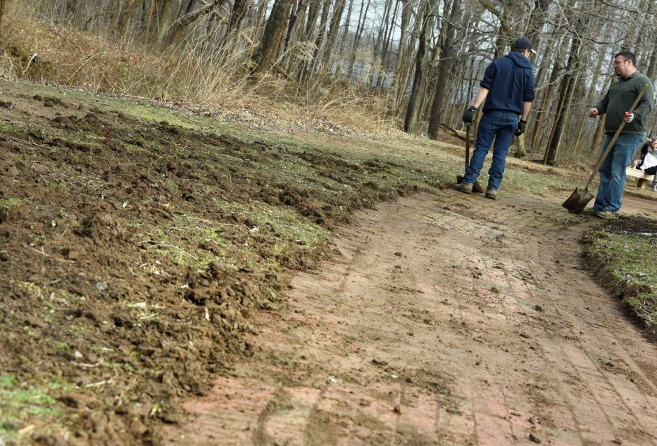 Volunteer help ready Allyn Brook Park in Durham for spring and summer use on Saturday, April 6, 2019. | Bailey Wright, Record-Journal