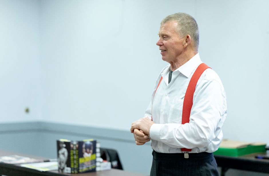 Two-time WWE champion Bob Backlund visited Berlin-Peck Memorial Library Monday, Jan. 14. Backlund told attendees that determination and values helped him succeed. | Devin Leith-Yessian, The Citizen