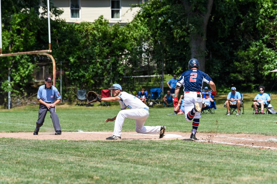 Brandon Kohl runs out a single at Ceppa Field in Saturdays American Legion state championship game against Stamford