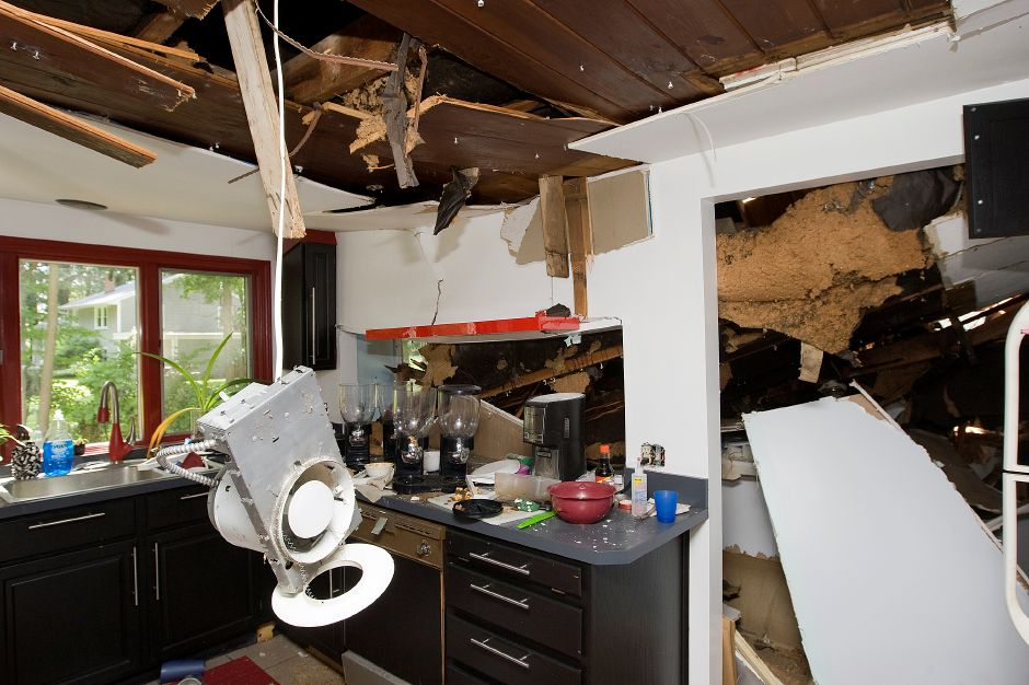 The kitchen of a home on Grantham Rd Friday, June 26, 2015 heavily damaged by Tuesday