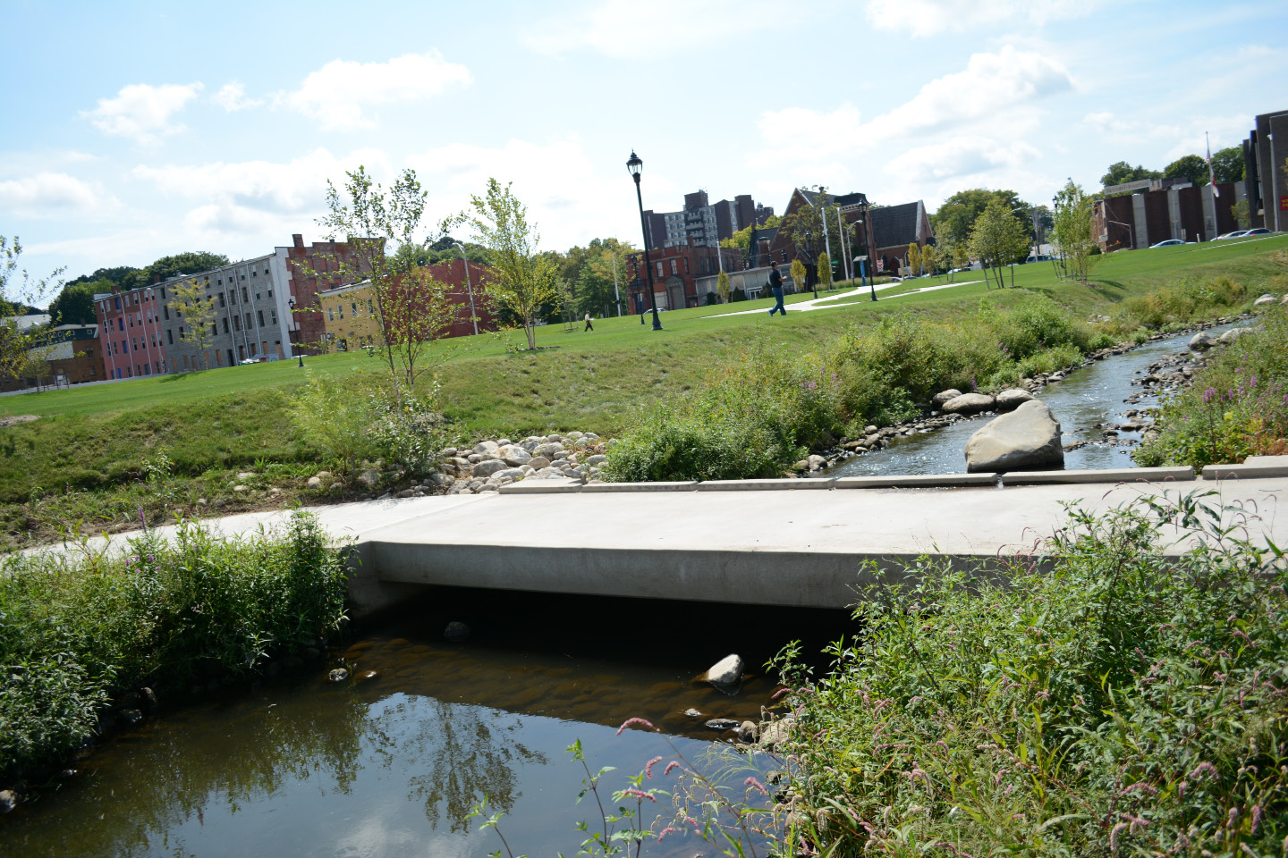 A footbridge at the Meriden Green on Thursday, Sept. 8. | Bryan Lipiner, Record-Journal