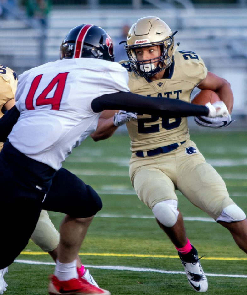 Platt junior running back Roberto Salas rushed for 243 yards and two touchdowns in the Panther's riveting 35-33 win over Newington on Saturday. | Aaron Flaum, Record-Journal