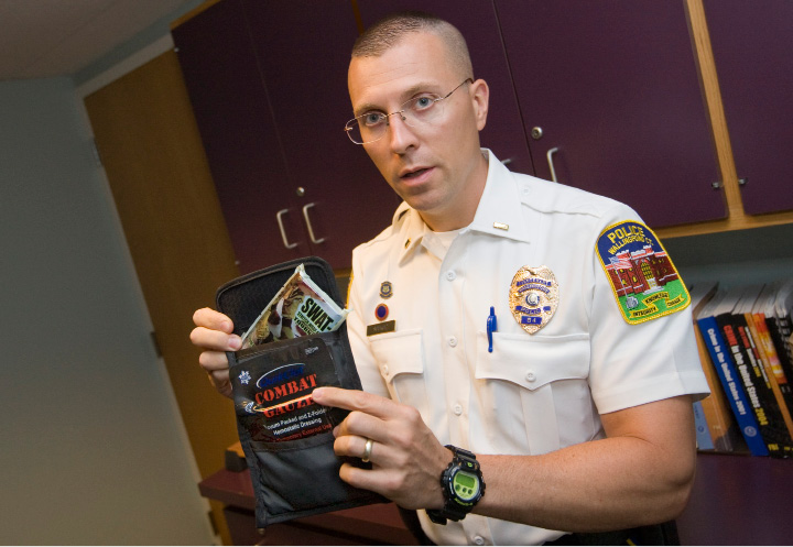 Lt. Samuel Soukup explains the contents of a trauma kit, one of 75 recently donated to the Wallingford Police Department by a Louisiana-based non-profit organization, Tuesday, August 11, 2015. The kits include various Z-Medica products, such as QuikClot Combat Gauze; a tourniquet; a face mask to administer CPR; and medical gloves.   |  Dave Zajac / Record-Journal