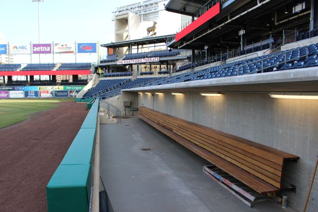 FILE - This March 30, 2017, file photo, shows a view from the home dugout at Dunkin Donuts Park in Hartford, Conn. The Hartford Yard Goats, the Double-A affiliate of the Colorado Rockies baseball team, is offering goat yoga at Dunkin Donuts Park, the team