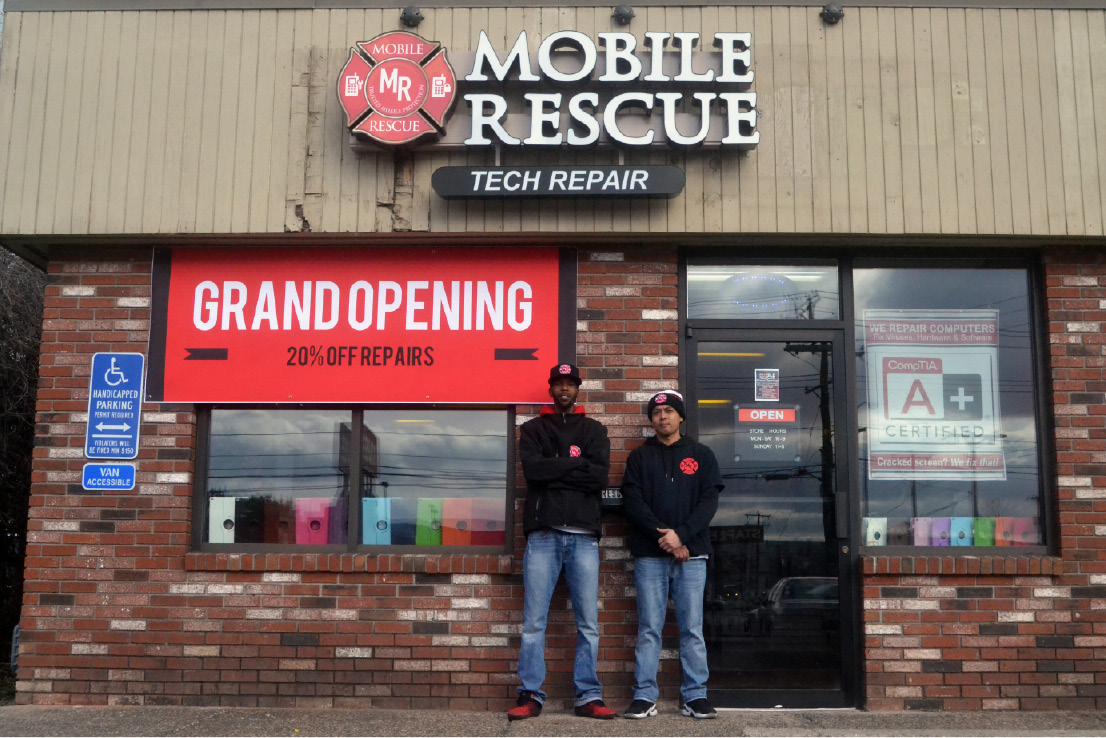 Mobile Rescue owner Gerard Little, left , and store manager Ley Pathoomvanh have opened a new store on Queen Street in Southington to fix phones and other electronic devices.| Pete Paguaga, Record-Journal
