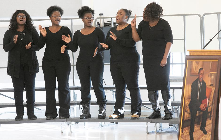 The Mt. Hebron Church Choir perform during the 34th annual Martin Luther King Jr./Albert Owens scholarship breakfast at Maloney High School, Mon., Jan. 21, 2019. Dave Zajac, Record-Journal