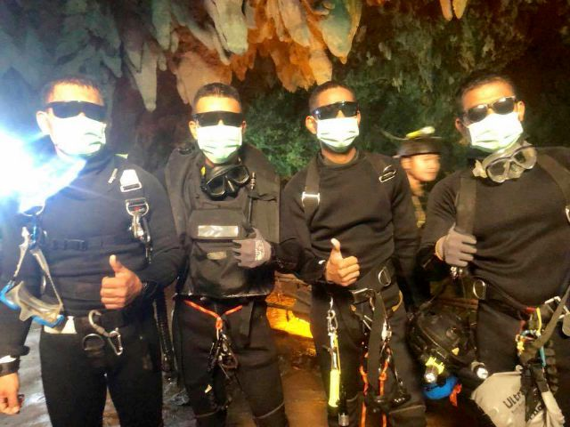 The last four Thai Navy SEALs come out safely after completing their rescue mission inside a cave where 12 boys and their soccer coach were trapped since June 23, in Mae Sai,   Thailand.Royal Thai Navy