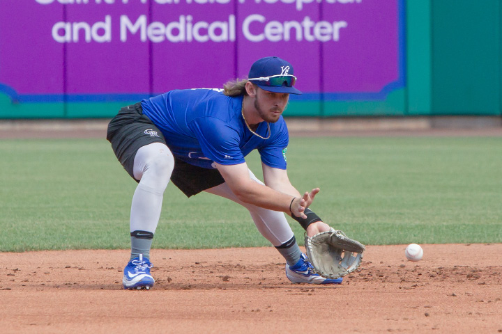 Hartford Yard Goats shortstop Brendan Rodgers fields a ball during batting practice Monday at Dunkin' Donuts Park in Hartford.| Justin Weekes, Special to the Record-Journal