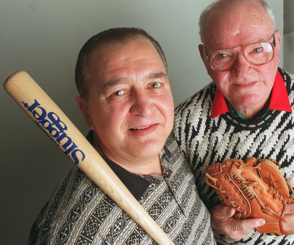 RJ file photo - Richard Shamock, left, and William Zanetto will be honored as Sportsmen of Distinction at the annual Meriden Sports Reunion dinner, Jan. 1999.