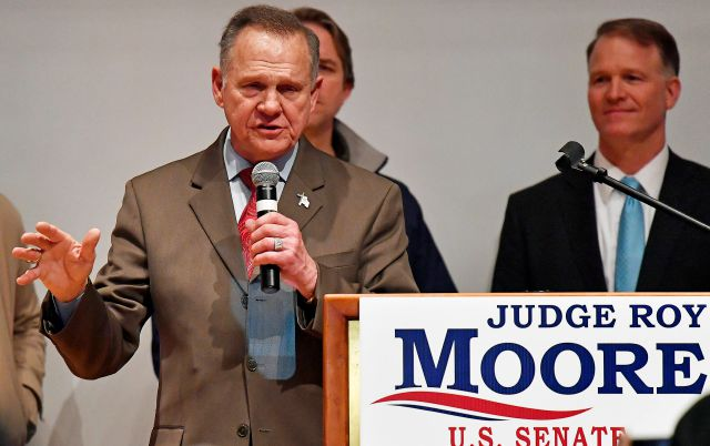 U.S. Senate candidate Roy Moore speaks at the end of an election-night watch party at the RSA activity center, Tuesday, Dec. 12, 2017, in Montgomery, Ala. Moore didn