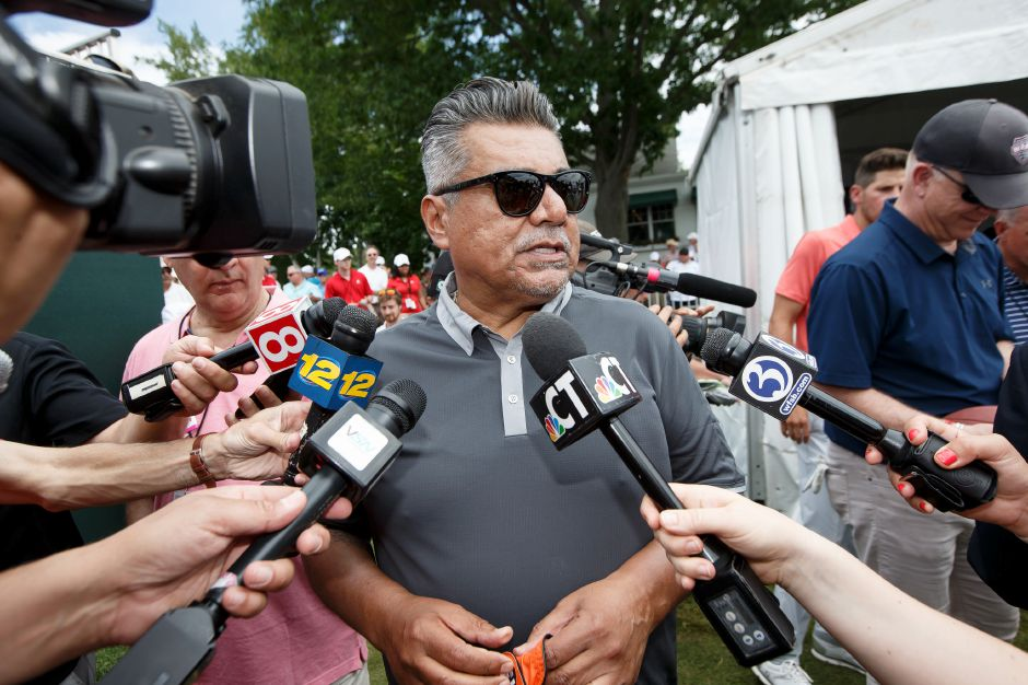 Comedian/Actor George Lopez fields questions from the media Wednesday during the Travelers Championship Celebrity Pro-Am at TPC River Highlands in Cromwell June 20, 2018 | Justin Weekes / Special to the Record-Journal