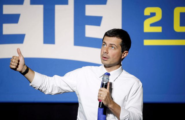Democratic presidential candidate Pete Buttigieg speaks to supporters at Iowa State University during a town hall style meeting on Wednesday, Oct. 16, 2019, in Ames, Iowa. (Bryon Houlgrave/The Des Moines Register via AP)