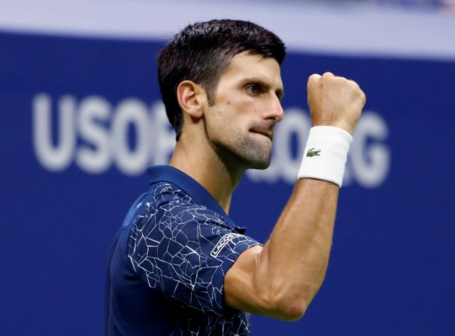 Novak Djokovic, of Serbia, reacts against Kei Nishikori, of Japan, during the semifinals of the U.S. Open tennis tournament, Friday, Sept. 7, 2018, in New York. (AP Photo/Adam Hunger)