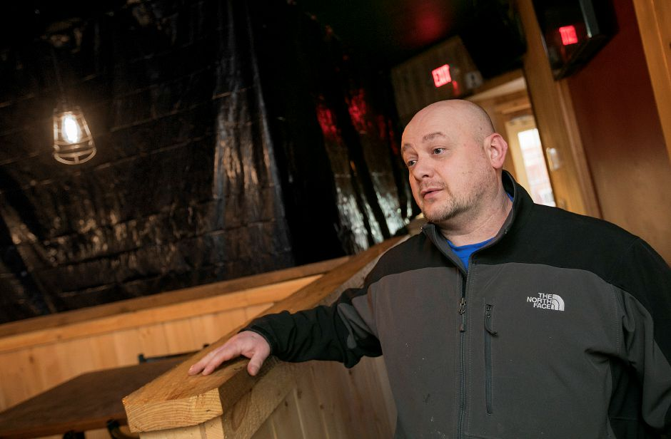 Executive Chef, Jakub Gorgon, talks about repairing the Hop Haus in Southington after the building was struck by a vehicle for the second time in less than six months, Monday, Feb. 12, 2018. Dave Zajac, Record-Journal