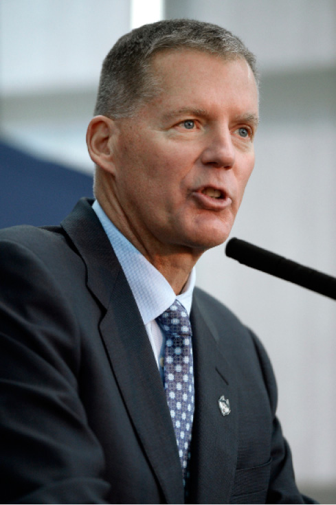 Newly announced Connecticut football head coach Randy Edsall speaks during an NCAA college football news conference at Pratt & Whitney Stadium at Rentschler Field, Friday, Dec. 30, 2016, in East Hartford, Conn. Edsall, the most successful coach in UConn football history, is returning to the Huskies to try and right the ship one more time.  (AP Photo/Jessica Hill)