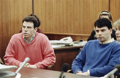 Erik Menendez, left, and his brother, Lyle, sit in the courtroom, Sept. 1, 1992 in Beverly Hills, California as a judge scheduled an October 13 court session to set a date to begin their preliminary hearing. The brothers are accused of murdering their wealthy parents three years ago. (AP Photo/Nick Ut)