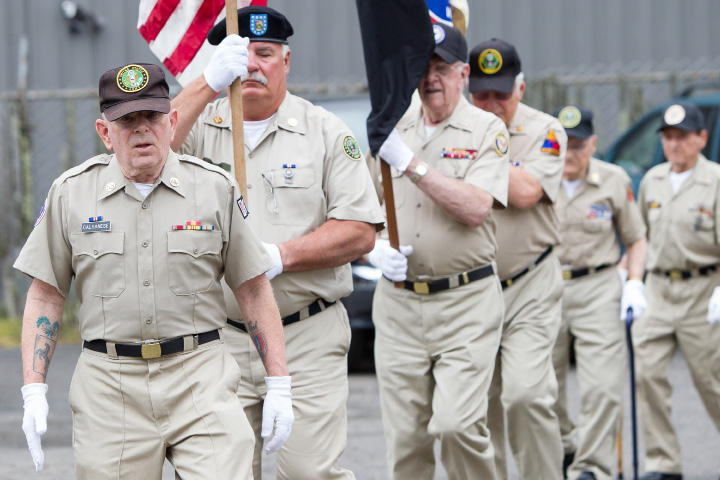 Dick Calvanese leads the Antique Veterans for the presentation of the American flag Monday during Memorial Day service at the American Legion  Post 45 in Meriden May. 30, 2016 | Justin Weekes / For the Record-Journal