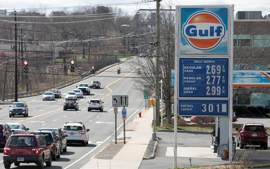 Gulf gas prices $2.69 and $2.77 on East Main Street in Meriden, Wednesday afternoon, April 18, 2018. Regional gas prices surged again this week after oil prices jumped to nearly $67 per barrel, the highest level since 2014. Dave Zajac, Record-Journal