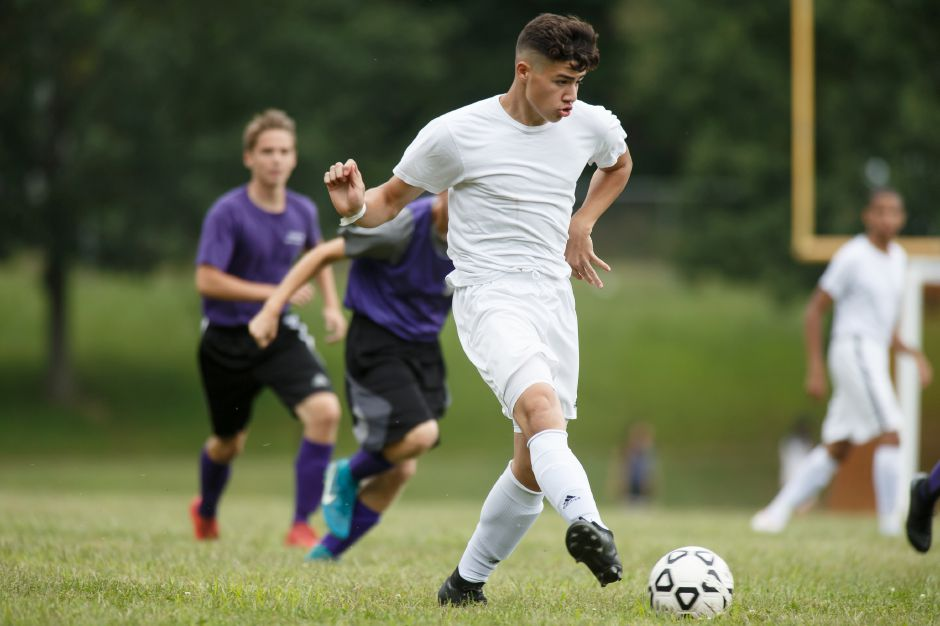 Senior forward/midfielder Chris Aceves, along with teammate Kelvin Cortez, is considered one of the top boys soccer players in Connecticut. | Justin Weekes / Special to the Record-Journal
