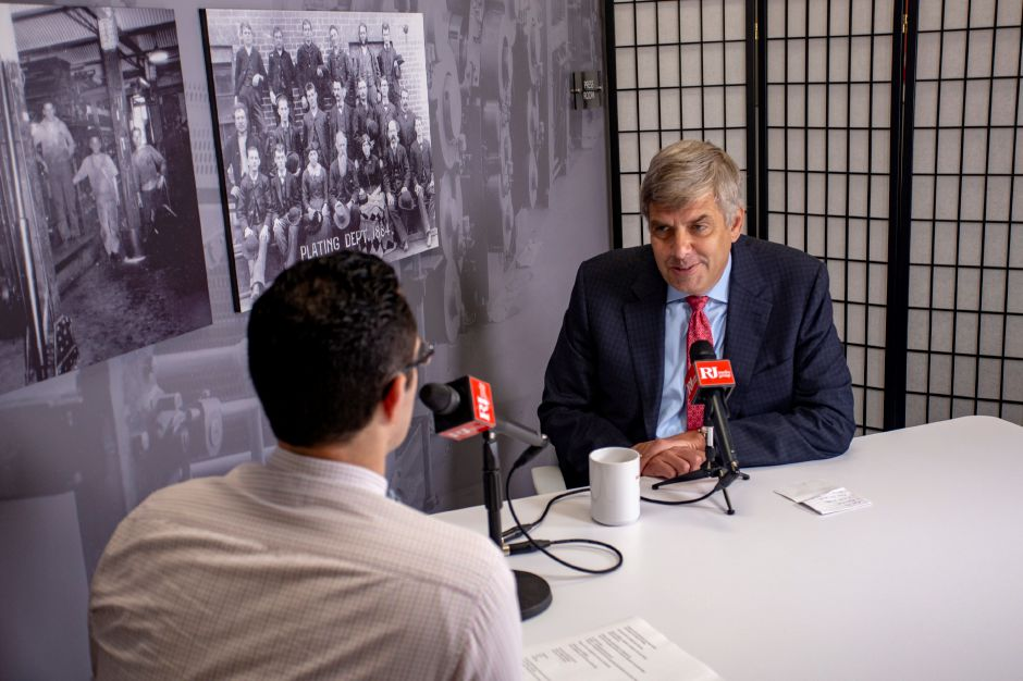 Bob Stefanowski, a Republican candidate, talks with Record-Journal editor Mike Savino about running for governor, July 25, 2018. | Richie Rathsack, Record-Journal