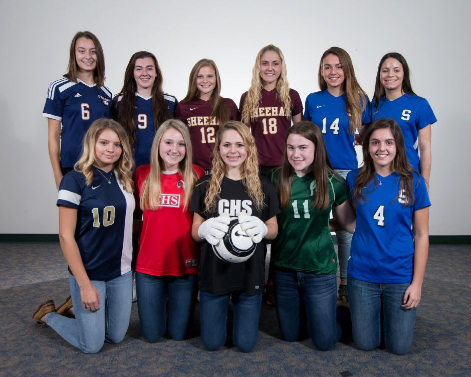 The 2017 All-Record-Journal Girls Soccer Team. Front row, from left, are Elizabeth Garlock of Platt, Elizabeth Lurz and Samantha Mathews of Cheshire, McKenzie Wrinn of Maloney and Ariana Gazaferi of Southington. Back row, from left, are Carly Jacobs and Demiree Cyr of Lyman Hall, Kelsey Burr and Sam Larkin of Sheehan, Abby Connolly and Alijah Vega of Southington.| Justin Weekes, Special to the Record-Journal