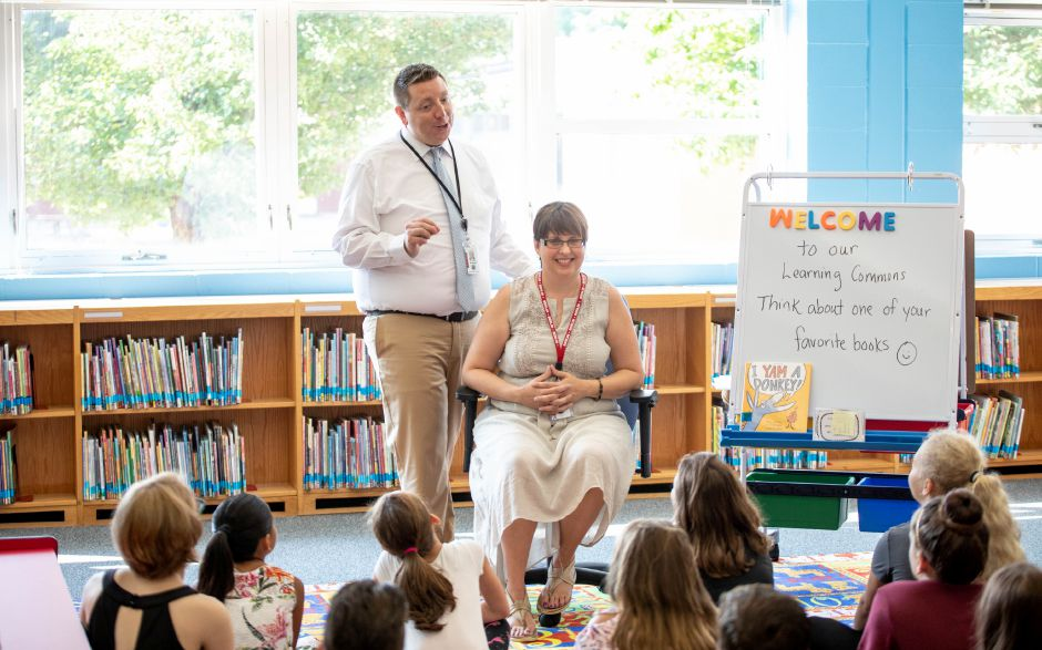 Librarian Denise Poole and Principal Matthew Correia at Willard Elementary School on August 29, 2018. The school transformed its library into a learning commons with a greater emphasis on technology. | Devin Leith-Yessian/Berlin Citizen