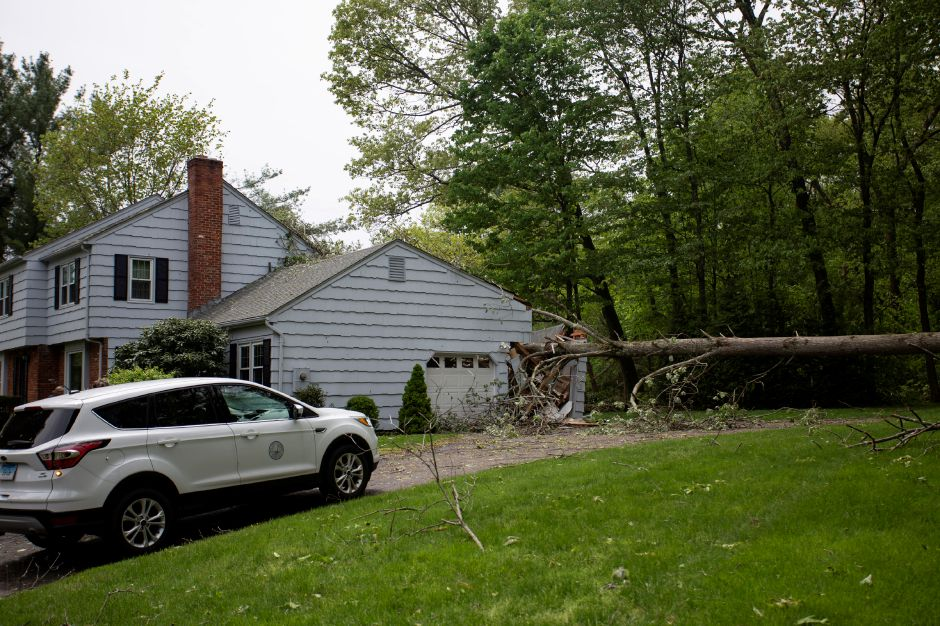 A tree fell into a garage of a home on Wintergreen Lane in Cheshire. | Richie Rathsack, Record-Journal