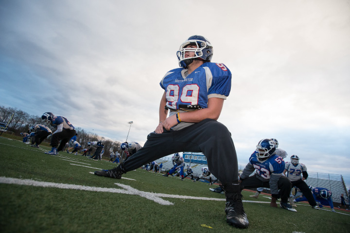 Southington defensive lineman Paul Schweiger warms up before practice Thursday as the Blue Knights prepared for Monday's CIAC Class LL semifinal against Darien. | Justin Weekes, Special to the Record-Journal