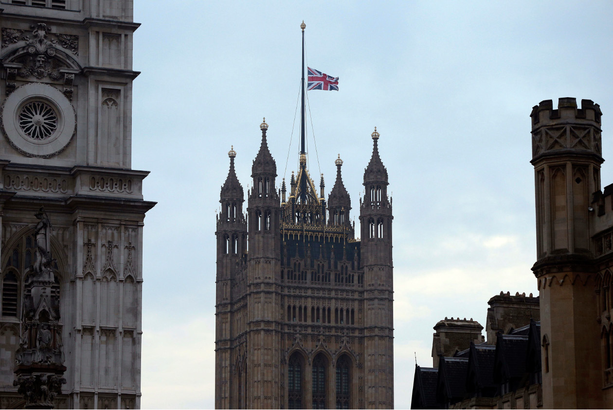 The flag above the Houses of Parliament flies at half mast,  the day after a terrorist attack in London, Britain, Thursday March 23, 2017. A knife-wielding man went on a deadly rampage in the heart of Britain