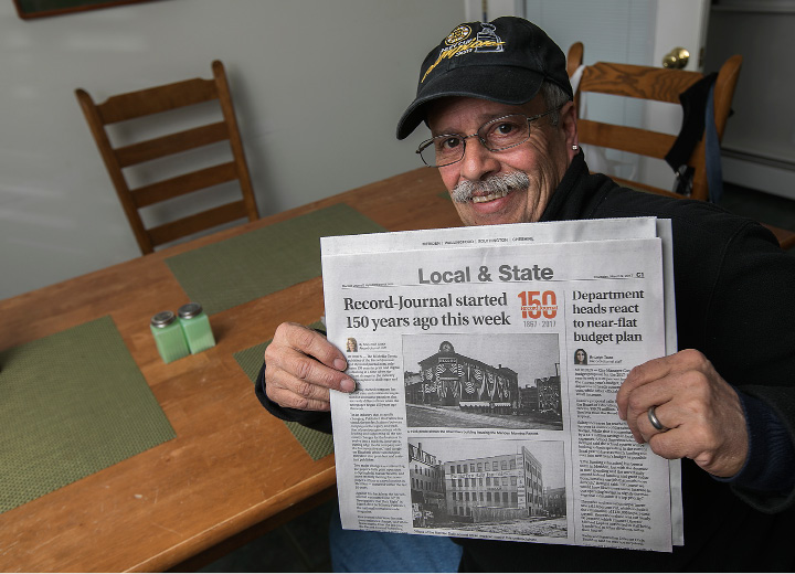 Chris Digioia, of Meriden, a long time carrier for the Record-Journal, Thursday,  March 9, 2017.  | Dave Zajac, Record-Journal